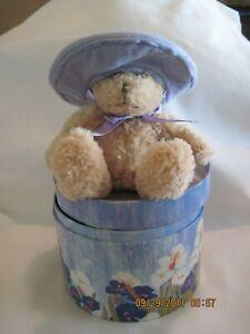 VINTAGE TEDDY BEAR LAVENDER HAT IN FLORAL HAT BOX...sold by Avon