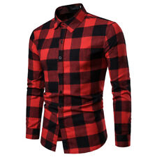 Mens Plaid Flannel Lumberjack Tartan Check Shirt Brushed Cotton Casual Top S-2XL