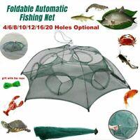 20 Holes Automatic Fishing Net Shrimp Cage Nylon Foldable Crab Fish Trap Cast