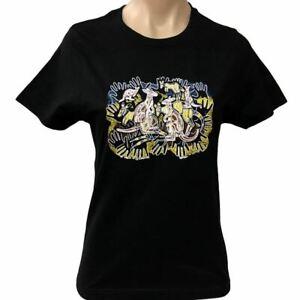 Kangaroo Survival Aboriginal Art Ladies T-Shirt (Black) - Fitted Sizes 8 - 20