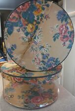 Vintage 1930's Floral Nesting Round Hat Boxes/Set of two