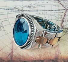 Ottomane Aquamarin Edelstein Solide 925 Sterling Silber Ring Edelstein