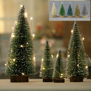 5× Tabletop Christmas Pine Tree Xmas Mini Snow Small Trees Decoration 125mm Gift