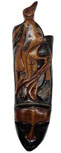 "Old Haitian Haiti Artist Carved Bird Face Wooden Sculpture Mask Unique 29.3/4""L"