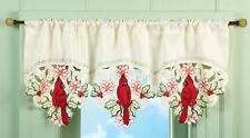 """Embroidered & Scalloped 40""""x16"""""""" LACEY CARDINAL BIRD & BLOSSOMS WINDOW VALANCE"""