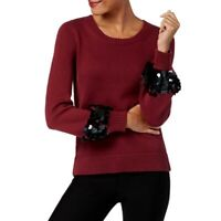 MICHAEL KORS NEW Women's Cotton Sequin-Cuff Crewneck Sweater Top TEDO