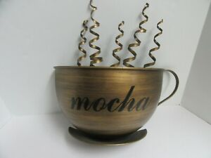 Metal Wall Art Decor Oversized Large 3D Coffee Theme Mug Mocha Brushed Gold