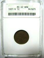 1921-S Wheat Cent ANACS MS 62 BRN