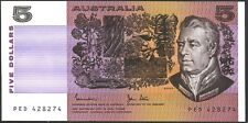 Australian 1983 vUnc-Unc LCF $5 PED 428274 - Johnston Stone Banknote Issue r208