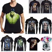 3D Popular Men Slim Stamp Short Sleeve Casual Shirt T-Shirt Basic Tee Top Blouse