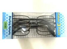 c8469faacd80 3 pairs Foster Grant Magnivision COUNCIL Reading Glasses Gunmetal +1.50 NEW!