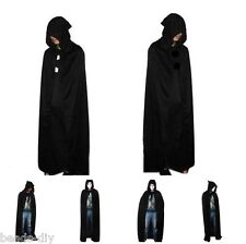 Unisex Adult Men Hooded Cape Long Cloak Black Halloween Costume Dress Coats SY