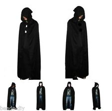 Unisex Men Lady Hooded Cape Adult Long Cloak Black Halloween Costume Dress Coats