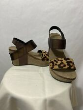NEW WITHOUT BOX Pierre Dumas Brown And Cheetah Print Wedges Size 6