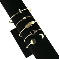 5PC Boho Crystal Women's Gold Chain Cuff Bracelet Bangle Wrist Band Jewelry Fine