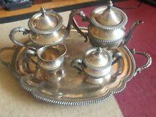 Antique Silver On Copper Tea Set 5 Pc w/Tilting Tea Pot & Lg Tray.