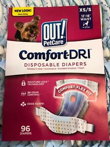 OUT! PetCare - Disposable Female Dog Diapers - Leak Proof - XS/S - 96 count