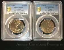 Poland 10 Zlotch 1971 SP66 PCGS KM#Pr185 & Pr187 FAO Proba Trials 2 Coin Lot
