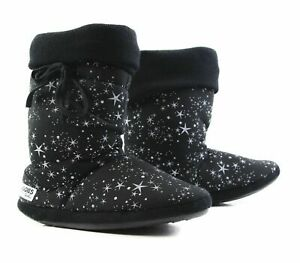Womens Grosby Hoodies BOOTS UNIVERSE BLACK WHITE Stars Slippers - Size S M L XL