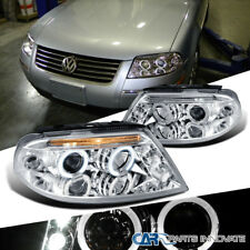 For 2001-2005 VW Passat B5 Chrome Clear LED Halo Projector Headlights Left+Right