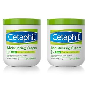 (2 Pack) Cetaphil Moisturizing Cream 20oz Paraben Free For Dry Sensitive Skin