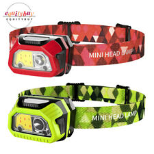 XPE Red White Light  COB LED Head Lamp Micro USB Rechargeable Motion Sensor