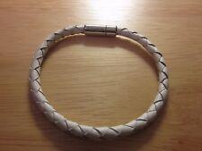 Vintage Tateossian Slim Scoubidou BraceletWhiteLeather Sterling Silver 925 Clasp