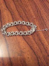Vintage Forstner Double Link Smooth Heart Clasp Sterling Silver Charm Bracelet
