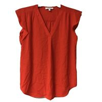 Chaus New York Women's Size Small Top  Hi Low Red Orange Slit Neck Short Sleeve