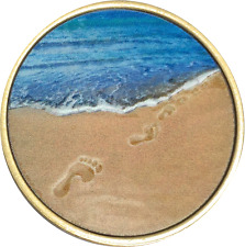 Footprints In The Sand Tropical Blue Bronze Medallion Chip Coin  Foot Prints