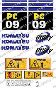 KOMATSU PC09 DIGGER DECAL STICKER SET