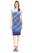 Maggy London Women's Ombre Batik Printed Cap Sleeve Sheath Dress White Blue 2