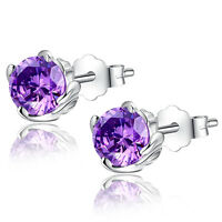 1.0 Cttw Round Created Amethyst Sterling Silver Stud Earrings Gifts for Girl