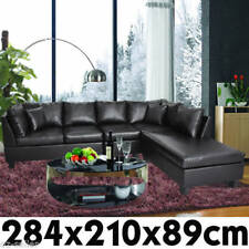 New Corner Sofa Suite Lounge Setting Couch Furniture Chaise Set Black