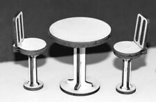 1:32 Scale Small Table with Stools Kit - for Scalextric/Other Static Layouts