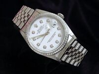 Rolex Datejust Mens Stainless Steel Watch Jubilee Band White Diamond Dial 16220