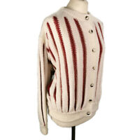 Hand Knitted 14 16 18 Cream Red Stripe Chunky Knit Wool Cardigan Retro Style