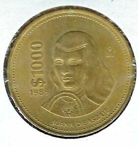 1989 MEXICO 1000 PESOS JUANA DE ASBAJE UNC COIN!