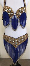 Belly Dance Costume Professional, Egyptian, Hand Beaded, Bra and Belt Set