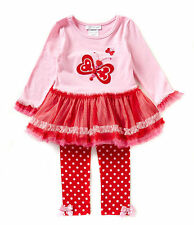 Bonnie Jean Girls Valentines Day Butterfly Heart Pageant Dress Legging 2T 3T 4T
