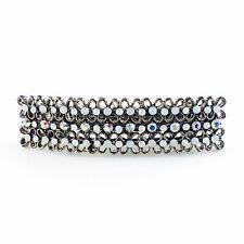 USA BARRETTE Rhinestone Crystal Hairpin Clip Vintage Elegant Simple Black White