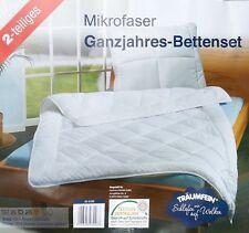 Mikrofaser Ganzjahres-Bettenset 2-teilig Bettdecke mit Kopfkissen 135 x 200 cm