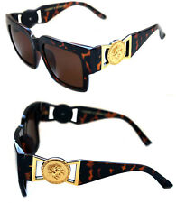 424 Medusa Gold Metal Logo Coin Horn Rimmed Sunglasses Metal Retro Brown Hip Hop