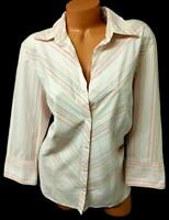Worthington beige pink striped 3/4 sleeves stretch plus buttoned down top 1X