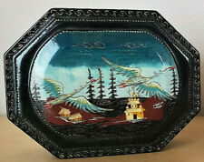 VINTAGE RUSSIAN LACQUER BOX SWAN BIRD Signed Authentic Hinged HOLUI 90s Octagon