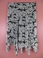 SK12680- RALPH LAUREN Womens 100% Silk Asymmetrical Skirt Black White Floral 16W