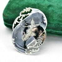Vintage sterling silver brooch pin Siamese Enamel Dancer Filigree unusual #W297