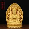 chinese folk Wood boxwood carving 1000 Arms Avalokiteshvara of Goddess Sculputre