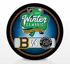 Officially Licensed 2019 Winter Classic Bruins Blackhawks Notre Dame NHL Puck