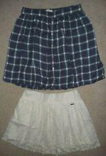 Lot Hollister Cream lace & Abercrombie & Fitch Blue plaid mini skirts Size S/M